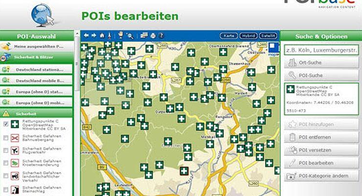 Navi-Ergänzungssoftware POIbase zeigt ab sofort so genannte Rettungspunkte auf allen gängigen Navigationsgeräten an
