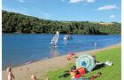 Camping Fuussekaul, Stausee, Obersauer, windsurfen, tauchen, schwimmen, paddeln, Solarboot