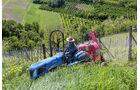 Ein piemontesischer Winzer bringt seine Weinlagen fleissig in Schuss.