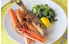 Mangoldgemuese, Fisch und Meeresfruechte.