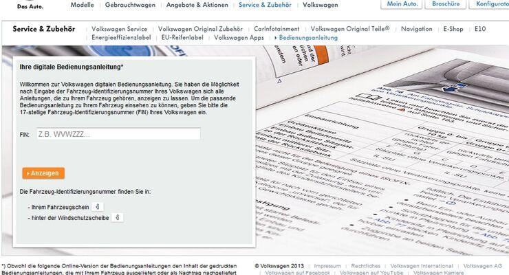 Volkswagen Kunden können ab sofort die Bedienungsanleitung ihres Fahrzeugs im Internet abrufen.